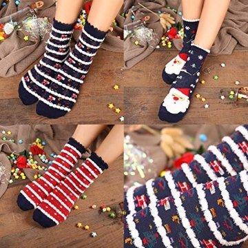Vertvie 12 Paar Unisex Weihnachtssocken Christmas Socks Weihnachtsmotiv Weihnachten Festlicher Baumwolle Socken Mix Design für Damen und Herren (One Size, 12er Pack02) - 8