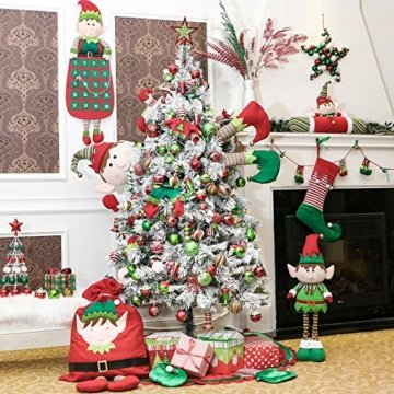 Victor's Workshop Weihnachtskugeln 24 TLG. 6cm Christbaumkugeln Weihnachtsbaumschmuck Bruchsicher Plastik Ornament mit Anhänger für Party Weihnachtsdeko Elfen Thema Rot Grün Weiß - 3