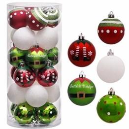 Victor's Workshop Weihnachtskugeln 24 TLG. 6cm Christbaumkugeln Weihnachtsbaumschmuck Bruchsicher Plastik Ornament mit Anhänger für Party Weihnachtsdeko Elfen Thema Rot Grün Weiß - 1