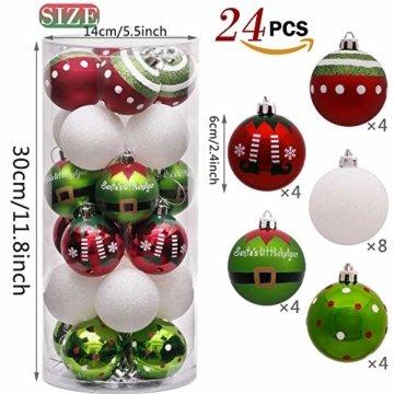 Victor's Workshop Weihnachtskugeln 24 TLG. 6cm Christbaumkugeln Weihnachtsbaumschmuck Bruchsicher Plastik Ornament mit Anhänger für Party Weihnachtsdeko Elfen Thema Rot Grün Weiß - 4