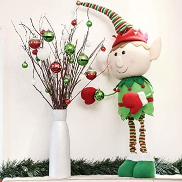 Victor's Workshop Weihnachtskugeln 24 TLG. 6cm Christbaumkugeln Weihnachtsbaumschmuck Bruchsicher Plastik Ornament mit Anhänger für Party Weihnachtsdeko Elfen Thema Rot Grün Weiß - 5
