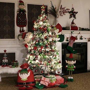 Victor's Workshop Weihnachtskugeln 24 TLG. 6cm Christbaumkugeln Weihnachtsbaumschmuck Bruchsicher Plastik Ornament mit Anhänger für Party Weihnachtsdeko Elfen Thema Rot Grün Weiß - 6