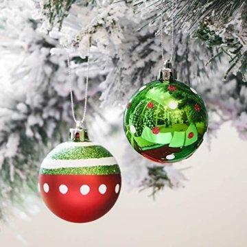 Victor's Workshop Weihnachtskugeln 24 TLG. 6cm Christbaumkugeln Weihnachtsbaumschmuck Bruchsicher Plastik Ornament mit Anhänger für Party Weihnachtsdeko Elfen Thema Rot Grün Weiß - 7