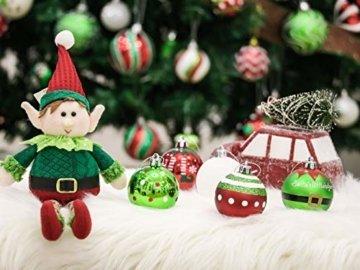 Victor's Workshop Weihnachtskugeln 24 TLG. 6cm Christbaumkugeln Weihnachtsbaumschmuck Bruchsicher Plastik Ornament mit Anhänger für Party Weihnachtsdeko Elfen Thema Rot Grün Weiß - 8