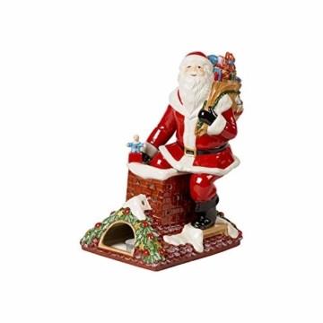 Villeroy & Boch Christmas Toys Memory Santa auf Dach, dekorative Weihnachtsmann-Figur aus Hartporzellan, bunt - 1