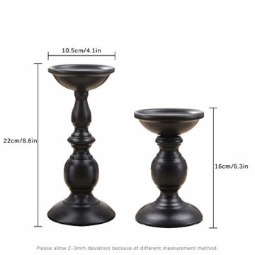 VINCIGANT Retro Kerzenhalter 2 Set in Unterschiedlicher Größe, 22/16cm Antik Kerzenständer Eisen Deko Kerzenleuchter für Stumpenkerzen, Vintage Tischdeko Hochzeit für Weihnachten Geburtstag.MEHRWEG - 4