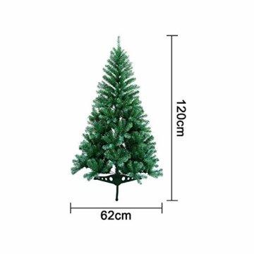 VINGO Künstlicher Weihnachtsbaum 120cm ca. 200 Grün Tannenbaum Weihnachtsdeko schwer entflammbar,inkl. Plastikständer für den Weihnachtsdekoration - 2