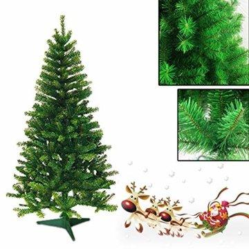 VINGO Künstlicher Weihnachtsbaum 120cm ca. 200 Grün Tannenbaum Weihnachtsdeko schwer entflammbar,inkl. Plastikständer für den Weihnachtsdekoration - 4