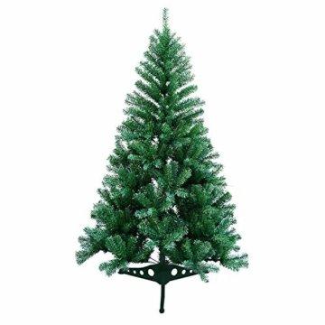 VINGO Künstlicher Weihnachtsbaum 120cm ca. 200 Grün Tannenbaum Weihnachtsdeko schwer entflammbar,inkl. Plastikständer für den Weihnachtsdekoration - 1