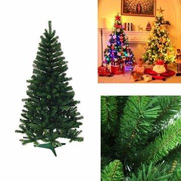 VINGO Künstlicher Weihnachtsbaum 120cm ca. 200 Grün Tannenbaum Weihnachtsdeko schwer entflammbar,inkl. Plastikständer für den Weihnachtsdekoration - 6