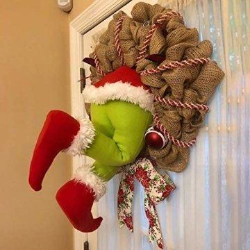 Voicry Weihnachtskranz 16 Zoll Türkranz Weihnachten Weihnachtsdeko Kranz deko Wie der Grinch den weihnachtskranz tür aus Sackleinen gestohlen hat - 1