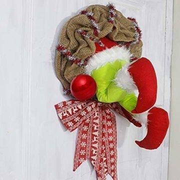 Voicry Weihnachtskranz 16 Zoll Türkranz Weihnachten Weihnachtsdeko Kranz deko Wie der Grinch den weihnachtskranz tür aus Sackleinen gestohlen hat - 6