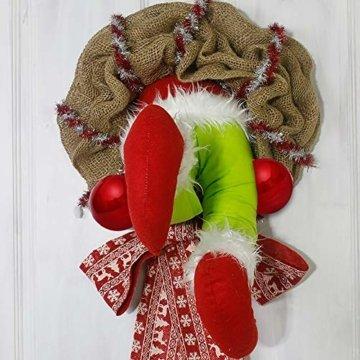 Voicry Weihnachtskranz 16 Zoll Türkranz Weihnachten Weihnachtsdeko Kranz deko Wie der Grinch den weihnachtskranz tür aus Sackleinen gestohlen hat - 7