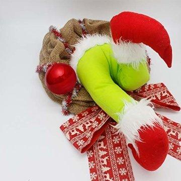 Voicry Weihnachtskranz 16 Zoll Türkranz Weihnachten Weihnachtsdeko Kranz deko Wie der Grinch den weihnachtskranz tür aus Sackleinen gestohlen hat - 9