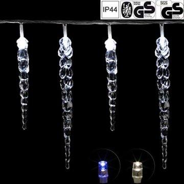 VOLTRONIC® 40 LED Lichterkette Eiszapfen für innen und außen, Farbwahl: kalt-weiß/blau, GS geprüft, IP44, optional mit 8 Leuchtmodi/Fernbedienung/Timer, Länge 5,5m + 5m Zuleitung - 1