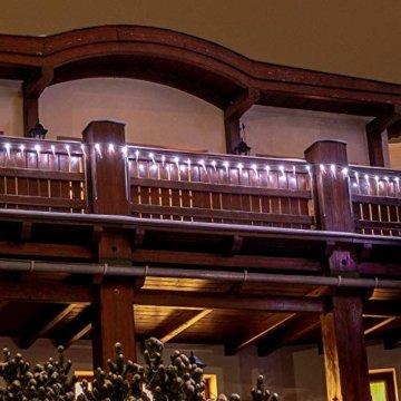 VOLTRONIC® 40 LED Lichterkette Eiszapfen für innen und außen, Farbwahl: kalt-weiß/blau, GS geprüft, IP44, optional mit 8 Leuchtmodi/Fernbedienung/Timer, Länge 5,5m + 5m Zuleitung - 6