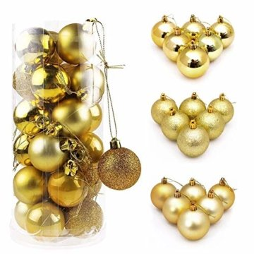 WAWJ 24PCS/Pack Weihnachtskugeln Christmas Tree Pendant Ornaments Baubles Weihnachtsbaum Dekoration Ball 4CM Plastic Gift for Xmas Holiday (Gold) - 2