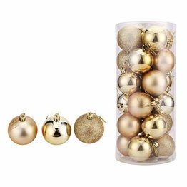 WAWJ 24PCS/Pack Weihnachtskugeln Christmas Tree Pendant Ornaments Baubles Weihnachtsbaum Dekoration Ball 4CM Plastic Gift for Xmas Holiday (Gold) - 1