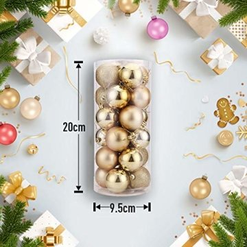 WAWJ 24PCS/Pack Weihnachtskugeln Christmas Tree Pendant Ornaments Baubles Weihnachtsbaum Dekoration Ball 4CM Plastic Gift for Xmas Holiday (Gold) - 6