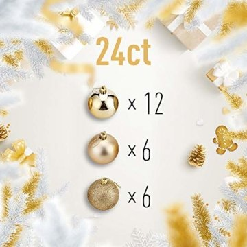 WAWJ 24PCS/Pack Weihnachtskugeln Christmas Tree Pendant Ornaments Baubles Weihnachtsbaum Dekoration Ball 4CM Plastic Gift for Xmas Holiday (Gold) - 7