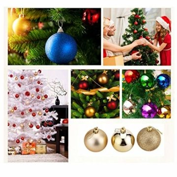 WAWJ 24PCS/Pack Weihnachtskugeln Christmas Tree Pendant Ornaments Baubles Weihnachtsbaum Dekoration Ball 4CM Plastic Gift for Xmas Holiday (Gold) - 8