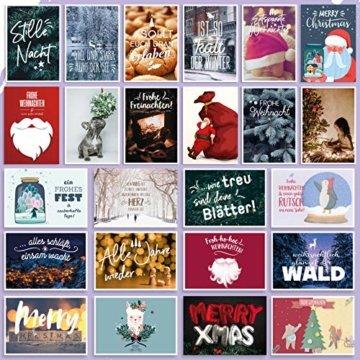 WEIHNACHTEN: 24 schöne POSTKARTEN | Schöne Bilder/Motive | Sprüche/Texte | Merry Christmas | Winter | Fest | Xmas | Karten-Mix | Geschenk | Tiere | Süß | Spruch | Liebe | Grußkarte | Deko - 3