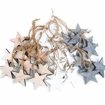 Weihnachts-ANHÄNGER SET: 30 Holz-Sterne Weihnachtssterne shabby vintage in grau weiß + natur braun ca. 7 cm je 10 Stück Baumschmuck Christbaumschmuck - Weihnachtsdeko zum Aufhängen - 1