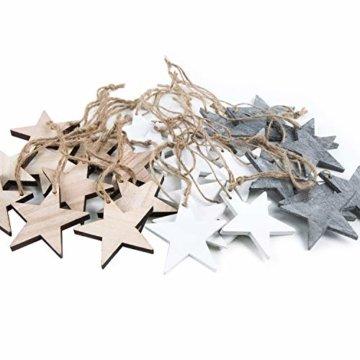 Weihnachts-ANHÄNGER SET: 30 Holz-Sterne Weihnachtssterne shabby vintage in grau weiß + natur braun ca. 7 cm je 10 Stück Baumschmuck Christbaumschmuck - Weihnachtsdeko zum Aufhängen - 5