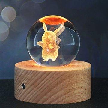 Weihnachts Geschenke für Kinder, 3D Kristallkugel Nachtlicht mit 7 Farben und 16 Farbwechseln, Feiertag Geburtstag Geschenk für Familien/Freunde/Jungen/Mädchen (Pikachu) - 1