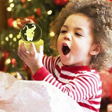 Weihnachts Geschenke für Kinder, 3D Kristallkugel Nachtlicht mit 7 Farben und 16 Farbwechseln, Feiertag Geburtstag Geschenk für Familien/Freunde/Jungen/Mädchen (Pikachu) - 5