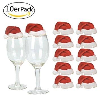 Weihnachts Tischdeko Weihnachtsmannmützen und Schleifen, 10 mal Bestecktasche, 10 mal Deko für Weingläser und 2 mal Deko für Weinflaschen - 3