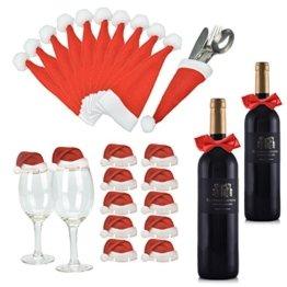 Weihnachts Tischdeko Weihnachtsmannmützen und Schleifen, 10 mal Bestecktasche, 10 mal Deko für Weingläser und 2 mal Deko für Weinflaschen - 1