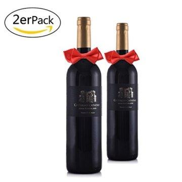 Weihnachts Tischdeko Weihnachtsmannmützen und Schleifen, 10 mal Bestecktasche, 10 mal Deko für Weingläser und 2 mal Deko für Weinflaschen - 4