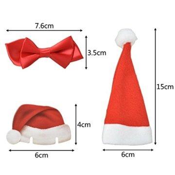 Weihnachts Tischdeko Weihnachtsmannmützen und Schleifen, 10 mal Bestecktasche, 10 mal Deko für Weingläser und 2 mal Deko für Weinflaschen - 5
