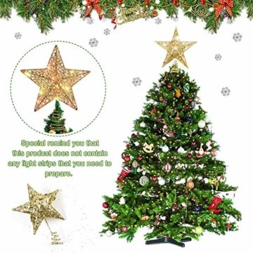 Weihnachtsbaum Stern,BETOY 2 Stücke Weihnachtsbaum Topper Star Sternform, Wiederverwendbar, Exquisit und Kompakt Weihnachtsbaumspitze für Weihnachtsdekoration, Weihnachtsbaum, Party, Wein,Gold,Silber - 2