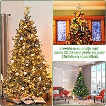 Weihnachtsbaum Stern,BETOY 2 Stücke Weihnachtsbaum Topper Star Sternform, Wiederverwendbar, Exquisit und Kompakt Weihnachtsbaumspitze für Weihnachtsdekoration, Weihnachtsbaum, Party, Wein,Gold,Silber - 3