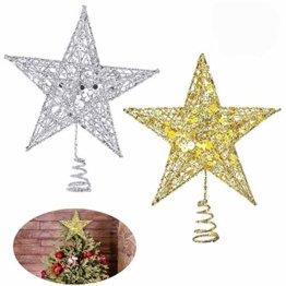 Weihnachtsbaum Stern,BETOY 2 Stücke Weihnachtsbaum Topper Star Sternform, Wiederverwendbar, Exquisit und Kompakt Weihnachtsbaumspitze für Weihnachtsdekoration, Weihnachtsbaum, Party, Wein,Gold,Silber - 1