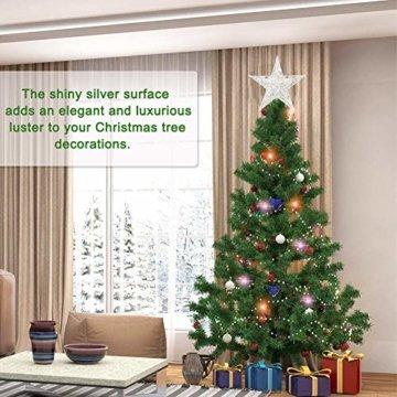 Weihnachtsbaum Stern,BETOY 2 Stücke Weihnachtsbaum Topper Star Sternform, Wiederverwendbar, Exquisit und Kompakt Weihnachtsbaumspitze für Weihnachtsdekoration, Weihnachtsbaum, Party, Wein,Gold,Silber - 4