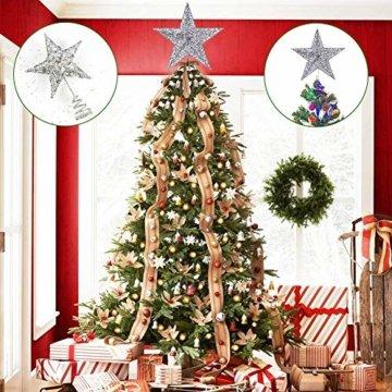 Weihnachtsbaum Stern,BETOY 2 Stücke Weihnachtsbaum Topper Star Sternform, Wiederverwendbar, Exquisit und Kompakt Weihnachtsbaumspitze für Weihnachtsdekoration, Weihnachtsbaum, Party, Wein,Gold,Silber - 5