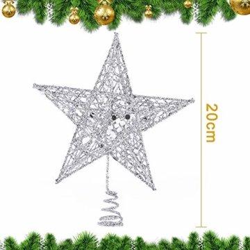 Weihnachtsbaum Stern,BETOY 2 Stücke Weihnachtsbaum Topper Star Sternform, Wiederverwendbar, Exquisit und Kompakt Weihnachtsbaumspitze für Weihnachtsdekoration, Weihnachtsbaum, Party, Wein,Gold,Silber - 6