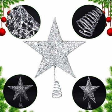 Weihnachtsbaum Stern,BETOY 2 Stücke Weihnachtsbaum Topper Star Sternform, Wiederverwendbar, Exquisit und Kompakt Weihnachtsbaumspitze für Weihnachtsdekoration, Weihnachtsbaum, Party, Wein,Gold,Silber - 7