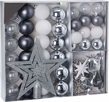 Weihnachtsbaumschmuck Set - 45 teilig in Silbertönen (Silber, Schwarz, Weiß etc.) - 36 Kugeln, Weihnachtsbumspitze, Dekosterne und Kette - 1