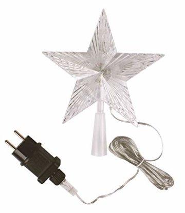 Weihnachtsbaumspitze mit 10 LED mit Stromstecker - 18 x 22 cm - beleuchtete Christbaumspitze in warmweiß - Weihnachtsbaum Stern Spitze Baumspitze - 2