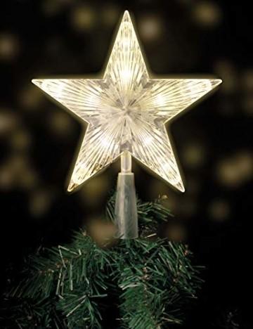 Weihnachtsbaumspitze mit 10 LED mit Stromstecker - 18 x 22 cm - beleuchtete Christbaumspitze in warmweiß - Weihnachtsbaum Stern Spitze Baumspitze - 1