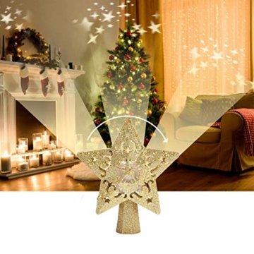 Weihnachtsbaumspitze, Star Baumspitze Lichtern, Stern Baum Top Projektor Verstellbarer Winkel 3D Star Projektor Lichter, Weihnachtsbaumspitze Dekoration Für Weihnachten, Party, Festival, Innendekorati - 2