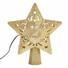 Weihnachtsbaumspitze, Star Baumspitze Lichtern, Stern Baum Top Projektor Verstellbarer Winkel 3D Star Projektor Lichter, Weihnachtsbaumspitze Dekoration Für Weihnachten, Party, Festival, Innendekorati - 1