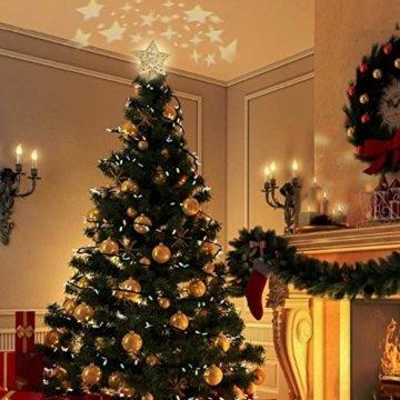 Weihnachtsbaumspitze, Star Baumspitze Lichtern, Stern Baum Top Projektor Verstellbarer Winkel 3D Star Projektor Lichter, Weihnachtsbaumspitze Dekoration Für Weihnachten, Party, Festival, Innendekorati - 4