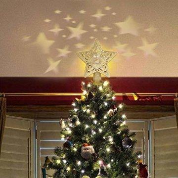 Weihnachtsbaumspitze, Star Baumspitze Lichtern, Stern Baum Top Projektor Verstellbarer Winkel 3D Star Projektor Lichter, Weihnachtsbaumspitze Dekoration Für Weihnachten, Party, Festival, Innendekorati - 5