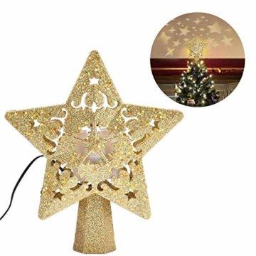 Weihnachtsbaumspitze, Star Baumspitze Lichtern, Stern Baum Top Projektor Verstellbarer Winkel 3D Star Projektor Lichter, Weihnachtsbaumspitze Dekoration Für Weihnachten, Party, Festival, Innendekorati - 6