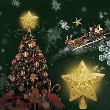 Weihnachtsbaumspitze, Star Baumspitze Lichtern, Stern Baum Top Projektor Verstellbarer Winkel 3D Star Projektor Lichter, Weihnachtsbaumspitze Dekoration Für Weihnachten, Party, Festival, Innendekorati - 7
